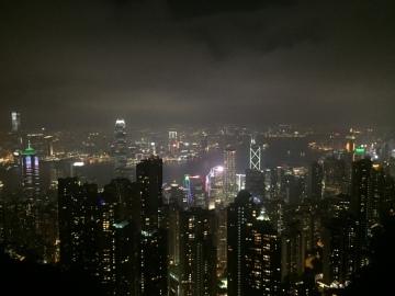 victoria peak, hong kong, the peak mall, bubba gump restaurant view