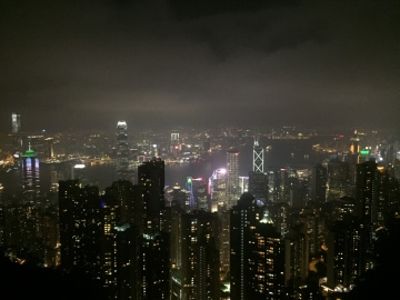 victoria peak, hong kong, the peak mall, bubba gump restaurant view